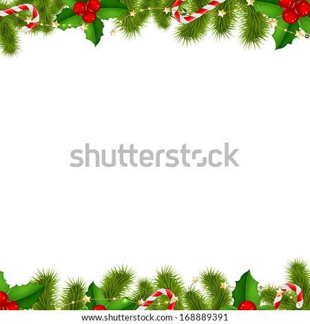 Border Fir Tree Branches Background, With Gradient Mesh, Vector Illustration  - stock vector