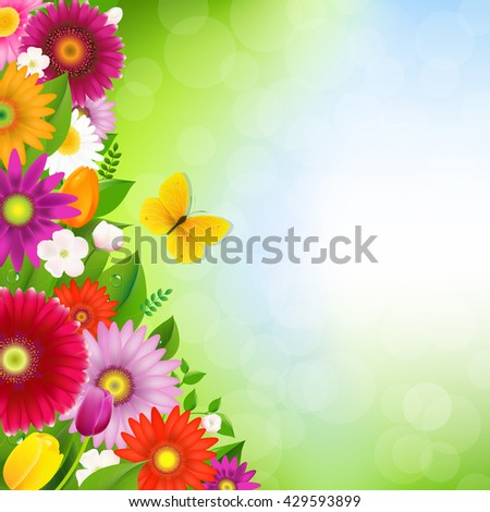Border Flowers With Butterfly With Gradient Mesh, Vector Illustration - stock vector