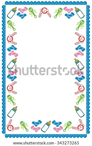 Border for birth announcement, or baby shower - stock vector