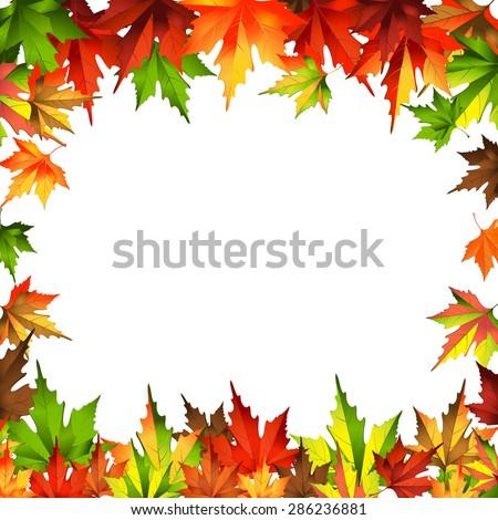 border frame autumn leaves isolated on white - stock vector