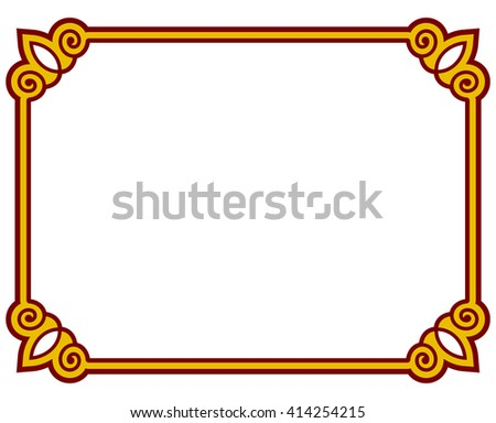 Border frame deco plaque. Vector art simple line corner - stock vector