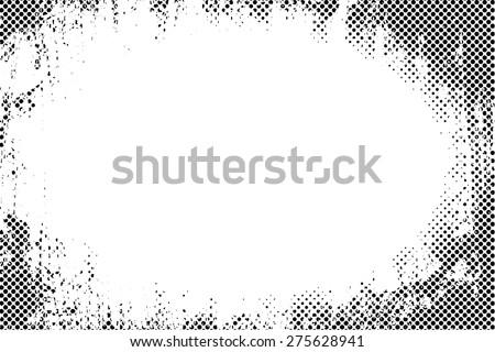Border frame grunge halftone dots vector texture background - stock vector