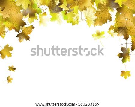 Border frame of colorful autumn leaves isolated on white. And also includes EPS 10 vector - stock vector