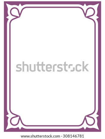 Border frame pink purple deco vector art simple line corner - stock vector