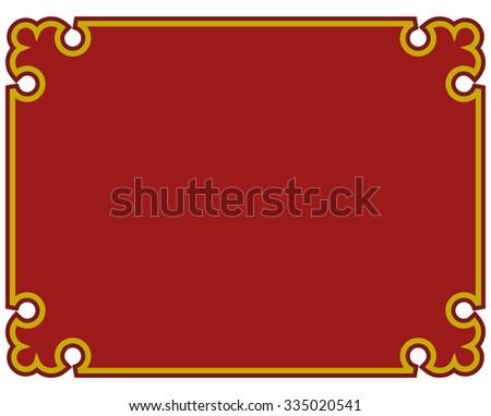 Border frame red deco plaque. Vector art simple line corner - stock vector