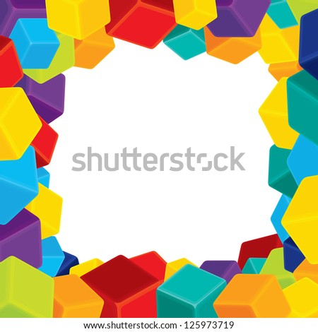 Border from Colorful Cubes. Vector Image with Free Space for Your Text, Image or Photo - stock vector