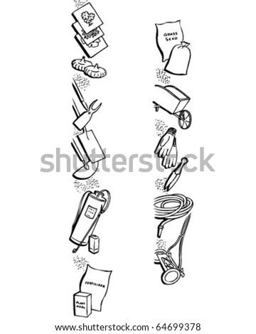 Border 1 - Garden Equipment - Retro Clipart Illustration - stock vector