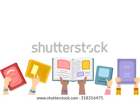 Border Illustration of Kids Putting Open Books Up in the Air - stock vector