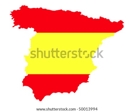 border line of country spain filled with flag of the state - stock vector
