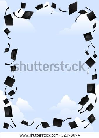 Border of graduation caps thrown into the sky - stock vector