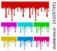 Border of paint drips of different colors. Mesh. Clipping Mask.(can be repeated and scaled in any size) - stock vector
