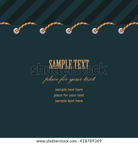 Border of rope firmware on a dark blue. Vintage marine background for your design