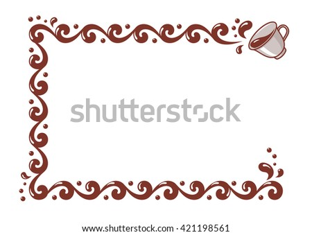 Border of spilled coffee or tea. Vector illustration isolated on a white background.