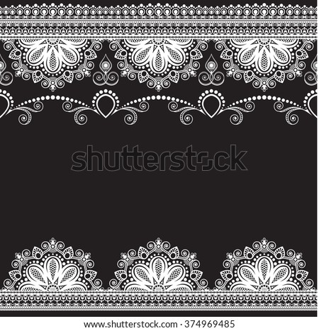 Border pattern elements with flowers and lace lines in Indian mehndi style for card and tattoo isolated on black background.  Vector illustration - stock vector