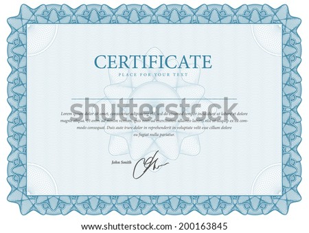 Border Template diplomas, certificate and currency. Vector illustration - stock vector