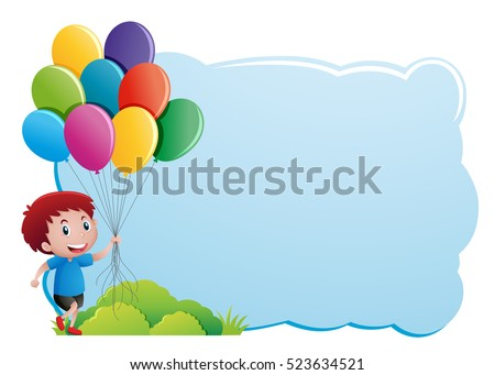 Border Template Boy Holding Balloons Illustration Stock Vector HD ...