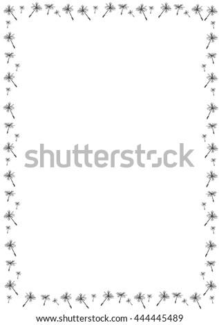 Border with dandelion seeds - vector illustration. - stock vector