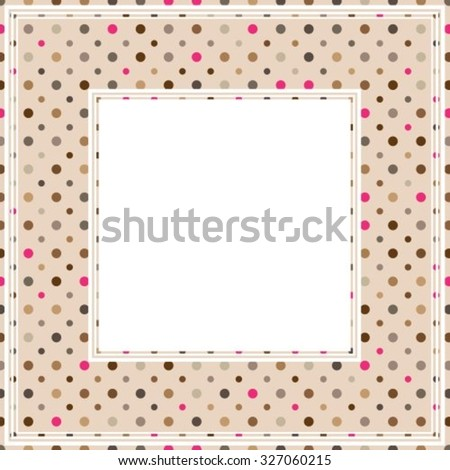 Border with multicolored polka dots pattern on a pink background.
