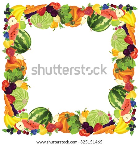 Border with ripe vegetable, fruits and berry - stock vector