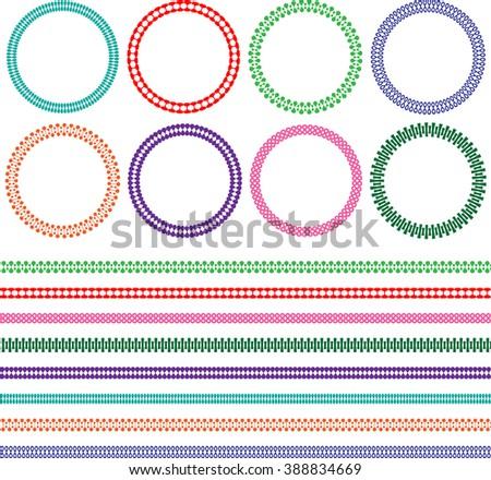 borders and circle frames - stock vector