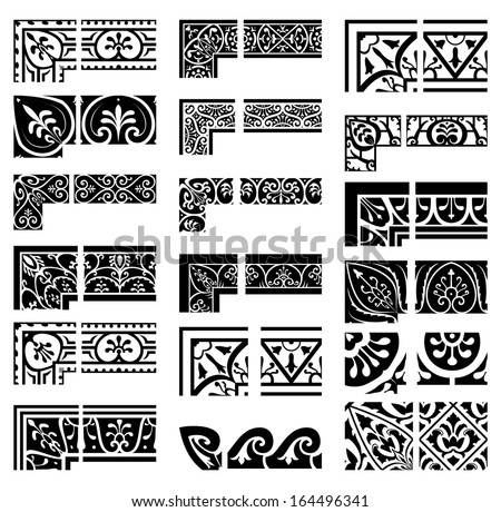 Borders and corners set. Baroque and classical style - stock vector