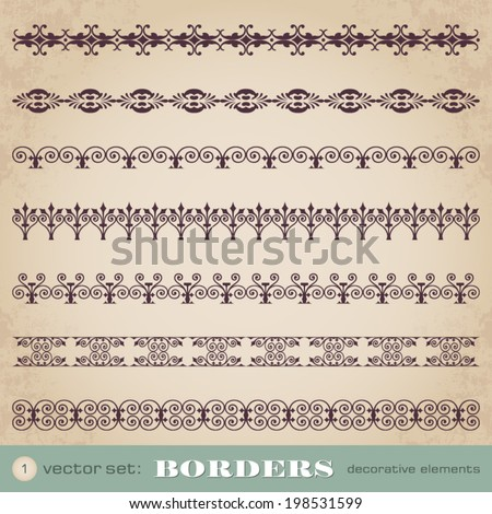 Borders decorative elements set 1