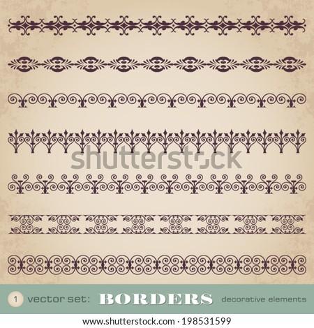 Borders decorative elements set 1 - stock vector