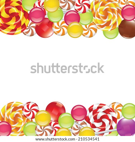 Borders with candies and lollipops on white background - stock vector