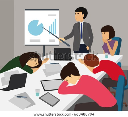bored tired business team sleeping presentation stock Tired Teacher Clip Art Tired Worker Cartoon