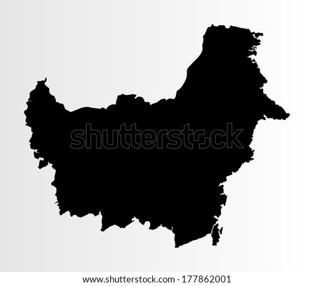 Borneo vector map high detailed, isolated on white background. - stock vector