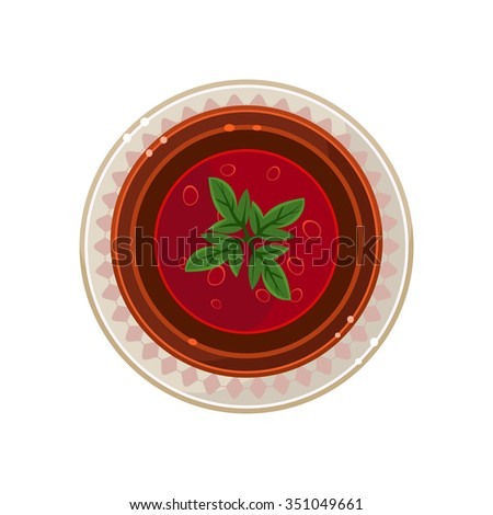Borscht in a Bowl Served Food. Colourful Vector Illustration - stock vector