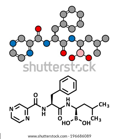 Bortezomib cancer drug (proteasome inhibitor), chemical structure. Conventional skeletal formula and stylized representation, showing atoms (except hydrogen) as color coded circles. - stock vector