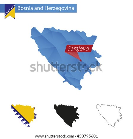 Bosnia and Herzegovina blue Low Poly map with capital Sarajevo, versions with flag, black and outline. Vector Illustration. - stock vector