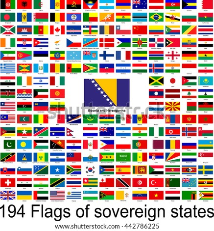 Bosnia and Herzegovina, collection of vector images of flags of the world
