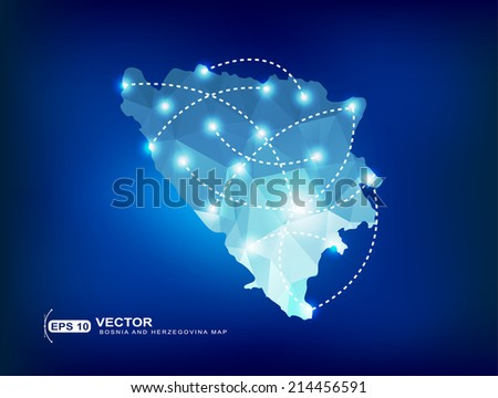 Bosnia and Herzegovina country map polygonal with spot lights places - stock vector