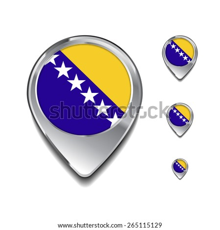 Bosnia And Herzegovina flag map pointer. 3d Map Pointer with flag glossy button style on gray background - stock vector