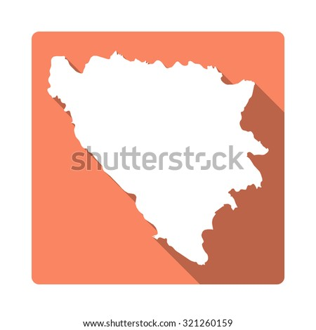 Bosnia and Herzegovina map: modern flat icon with long shadow. Vector icon map of Bosnia and Herzegovina on orange background. Flat style country map - stock vector