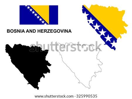 Bosnia and Herzegovina map vector, Bosnia and Herzegovina flag vector, isolated Bosnia and Herzegovina - stock vector