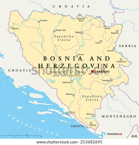 Bosnia and Herzegovina Political Map with capital Sarajevo, national borders, important cities, rivers and lakes. English labeling and scaling. Illustration.