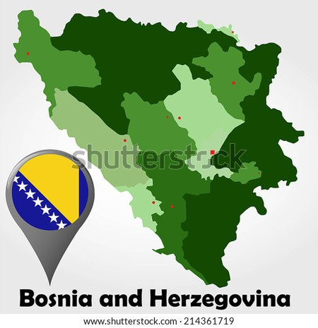 Bosnia and Herzegovina political map with green shades and map pointer. - stock vector