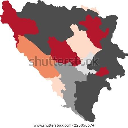 Bosnia Herzegovina Political Map Pastel Colors Stock Vector ...