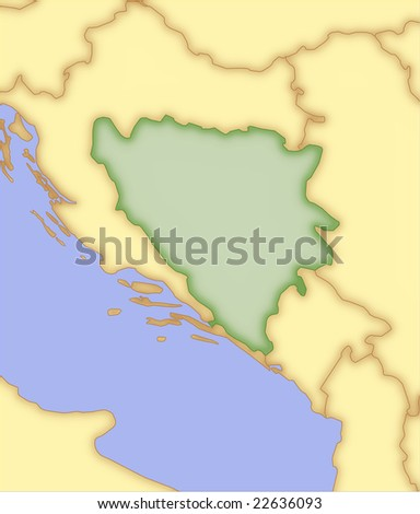 Bosnia and Herzegovina, vector map, with borders of surrounding countries. 5 named layers, fully editable. - stock vector