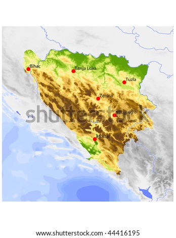 Bosnia-Herzegovina. Physical vector map, colored according to elevation, with rivers and selected cities. Surrounding territory greyed out. 57 named layers, fully editable. - stock vector