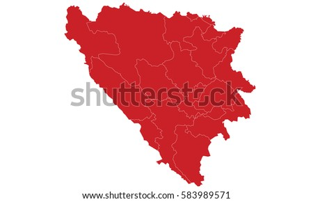 Bosnia map red color