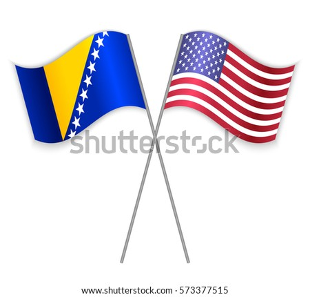 Bosnian and American crossed flags. Bosnia and Herzegovina combined with United States of America isolated on white. Language learning, international business or travel concept.