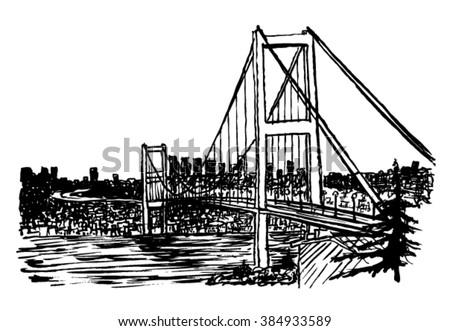 Bosphorus Bridge sketch - stock vector