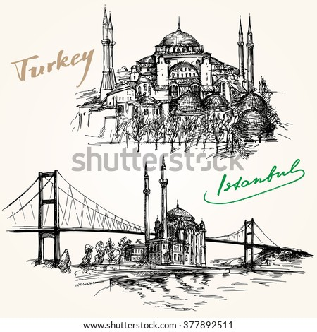 Bosporus Bridge. Hand drawn set. Istanbul, Turkey. - stock vector
