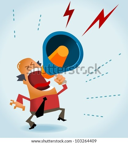 Boss angry with megaphone. Vector - stock vector
