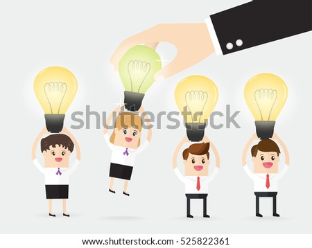 boss choosing businessman or businesswoman who have new ideas and think different from group of business people. concept of human resources recruitment