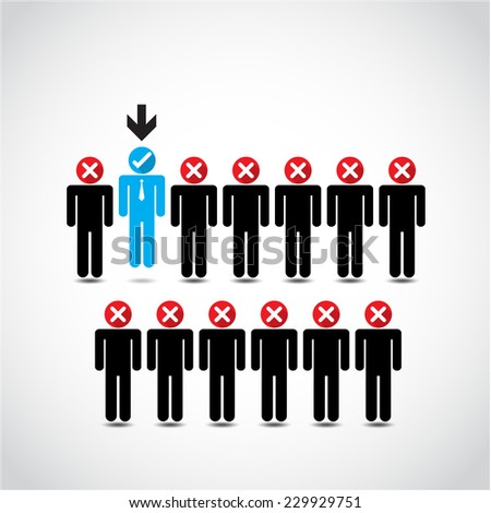 Boss choosing the perfect businessman for the job. Vector illustration - stock vector